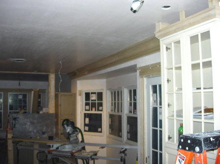 Kitchen under construction with new cabinets