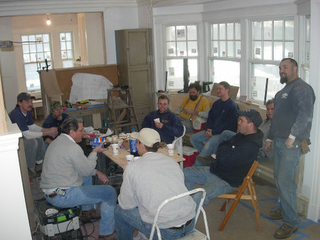 Construction crew takes a break on the jobsite