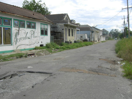 Deserted street in the lower ninth ward of new orleans