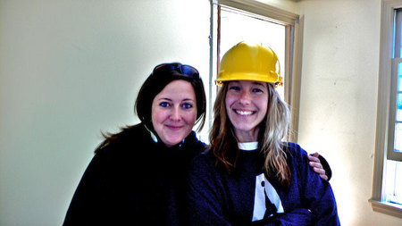 Deb Hood and Amy Favat on site at TOH project house, Weston