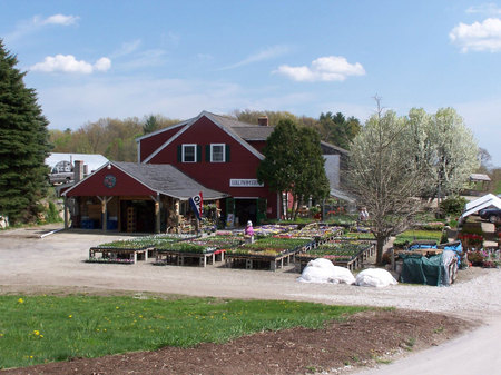 Farmstand where producer stopped to make some calls