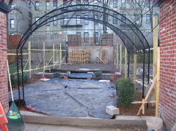 Brooklyn project house backyard during construction