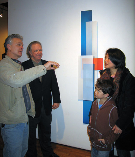 TOH homeowner Karen Shen attends John Thomas art opening with contractor Mike Streaman