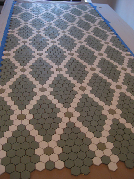 mosaic hexagonal tiles laid in diamond pattern